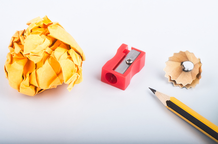 creative ideas concept, pencil with it shavings,crumple paper and sharpener over white background Reklamní fotografie