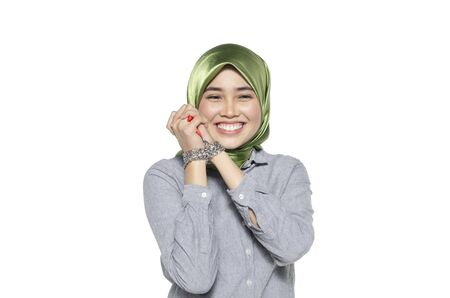 liberty and freedom concept, hijab women hand in chain isolated on white background