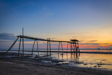 Beautiful scenery sunset background surrounding jeram beach located in Selangor State Malaysia Stock Photo