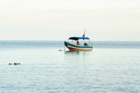 speed boat for island hoping activities moored on the Nipah Bay pangkor Island, Malaysia Stok Fotoğraf
