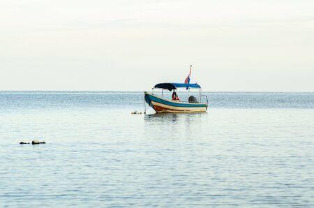 speed boat for island hoping activities moored on the Nipah Bay pangkor Island, Malaysia 写真素材