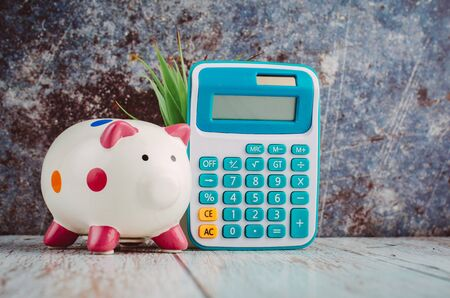 saving money for future concept, piggy bank and calculator on wooden desk