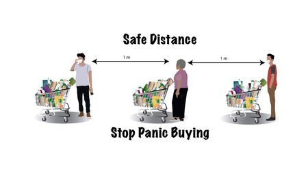 Doomsday chaos and pandemic virus outbreak concept, customer in panic buying lots of food due to movement control by government