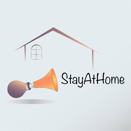 Concept of lockdown and stay at home campaign due to coronavirus crisis Иллюстрация