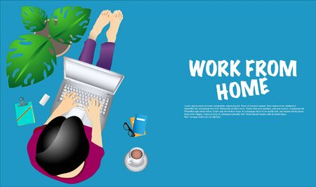 Self employed concept,convenient workplace for freelancer or workers remotely working from home Illustration