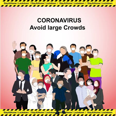 Concept of social distancing campaign,keep spaced between people to avoid spreading illness during transmission of COVID-19 outbreak Иллюстрация