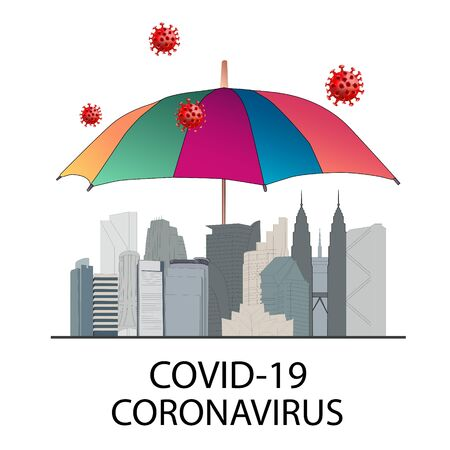 Concept of family and city lockdown campaign due to coronavirus crisis