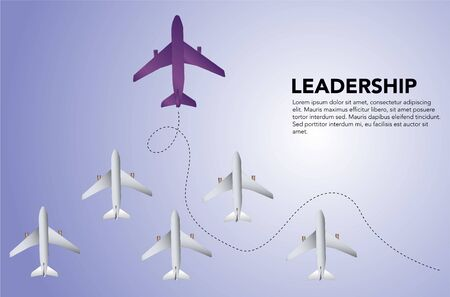 Motivational and business success concept, word Leadership and description on the right for template