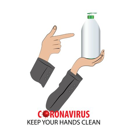 Illustration Concept of protection and prevention during Coronavirus crisis, hand holding sanitiser bottle Иллюстрация