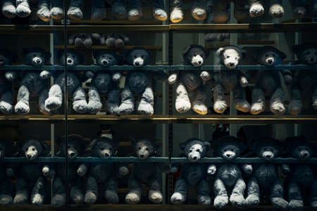 grey teddy bear display on shelves in the retail shop. noise and grain effect Archivio Fotografico
