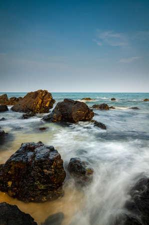 amazing nature landscape at kemasik beach Terengganu, Malaysia against blue sky background