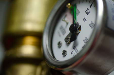 fire suppression gauge in the data center. closeup image and shallow depth of field background