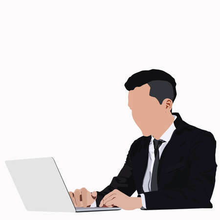 young businessman sitting and working with laptop over white background