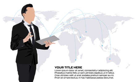 Young businessman standing with a tablet PC over world map background, analysing strategy to expand his business