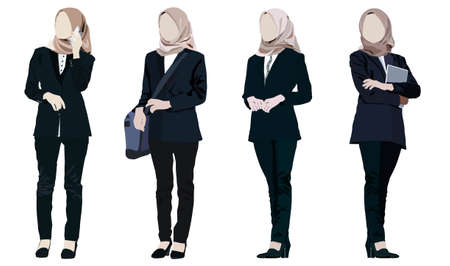 Different poses set vector illustration of young businesswoman standing  in formal dress