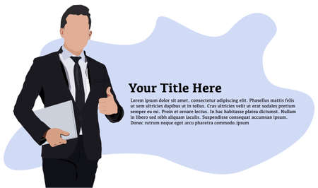 Young businessman standing with a tablet PC and thumb up hand gesture Illustration