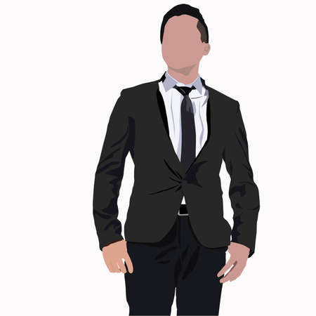 vector image of young businessman standing agains white background