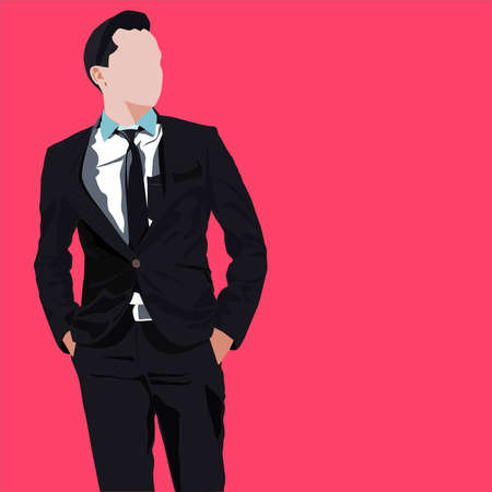 young businessman standing against red background Illustration