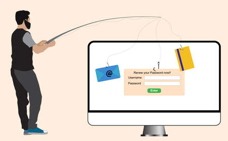vector illustration concept of web security, hacker trying attack via phishing email, stealing digital information from victim