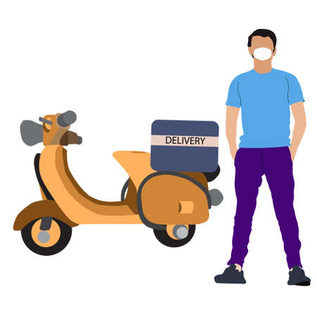 Vector illustration Concept of Online delivery package by scooter or motocycle  on mobile phone application Illustration