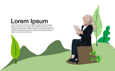 Vector illustration of young hijab woman sitting at park with mobile phone
