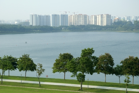Singapore Public Housing near reservoir in a hazy day Stock Photo - 21078435