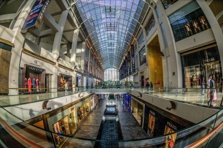 sep: Singapore, Sep 11, 2013 - Fish eye shot of Marina Bay Sands Shopping Mall interior