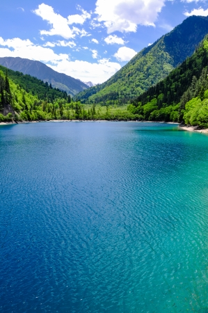 View of Panda Lake at Jiuzhaigou  The lake takes is name from the Giant Pandas which are said to come and drink its water  Jiuzhaigou is a nature reserve famous for its colorful lakes located in the Tibetan-Qiang, Sichuan  It is one of the most visited si photo