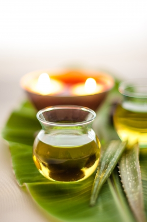 Health spa, two bottles of essential oil with  fresh aloe vera on banana leaf    Focus at the oil bottle  photo