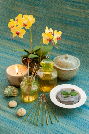 Herbal and oil treatment equipment in relaxing spa setting  photo
