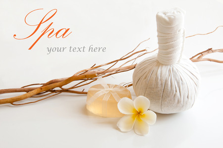 herbal massage ball: Spa still life with herbal massage ball and soap  Stock Photo