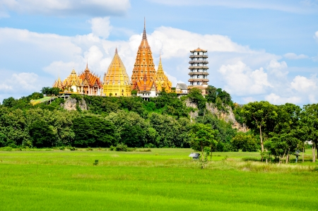 Scenery behind of Wat Tham Khao Noi and Wat Tham Sua, the monastery was constructed in the form of cultural art, located at Kanchanaburi, Thailand  photo