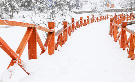 fence in snow photo