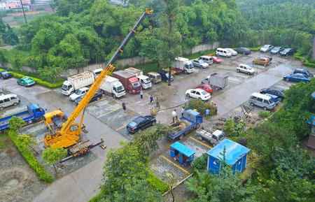 car hoist: parking lot construction at chengdu,china.Photo is taken on 22 July 2011.