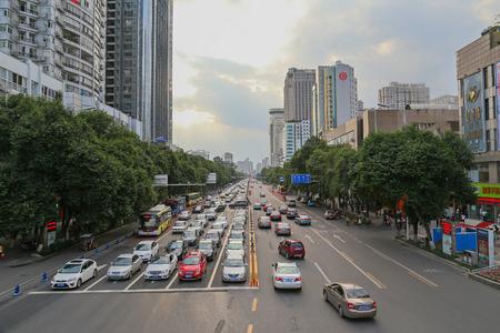 closing time: MIANYANG,CHINA -SEP 24,2014: traffic jam at the closing time.