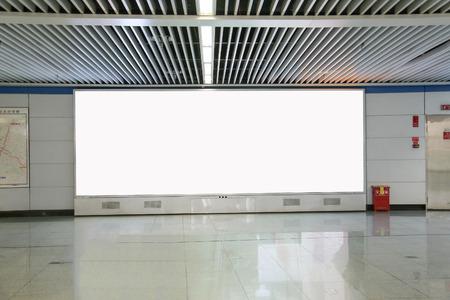 blank billboard: lightbox in subway