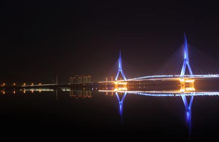 modern bridge: modern bridge at night