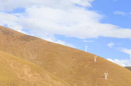 electric tower on the mountain at tibet,china