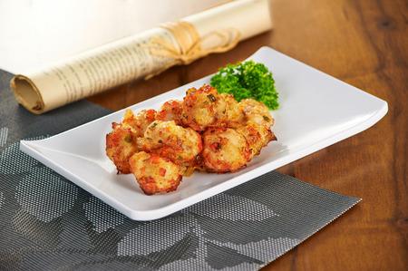 Golden fried meatballs