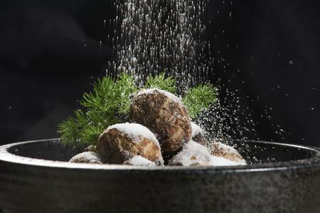 bronze bowl: Salt and pepper with taro
