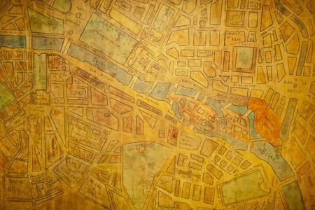 vintage paris: Mapa de textura antigua de la ciudad de Par�s (Francia) Foto de archivo