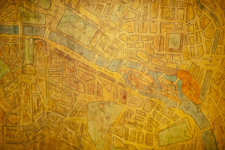 historic and vintage: Textured old map of the city of Paris (France) Stock Photo