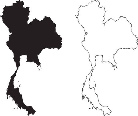 Thailand Map. Black silhouette country map isolated on white background. Black outline on white background.