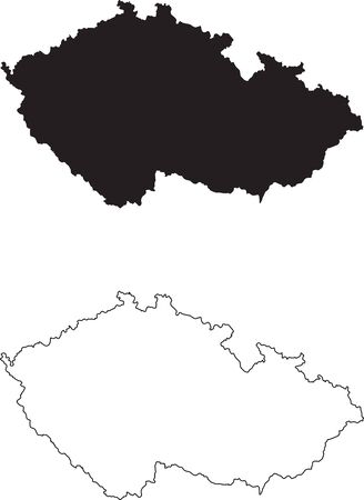 Czech Republic Map. Black silhouette country map isolated on white background. Black outline on white background. Vector file