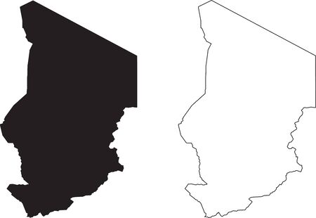 Chad Map. Black silhouette country map isolated on white background. Black outline on white background. Vector file Vector Illustratie