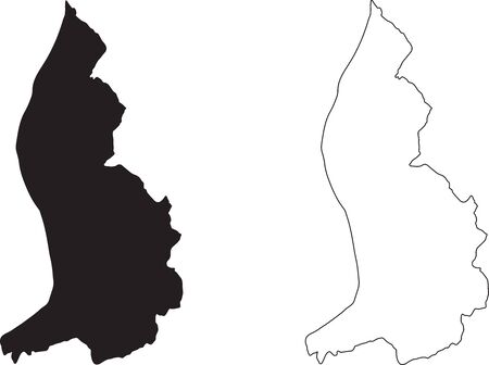 Liechtenstein Map. Black silhouette country map isolated on white background. Black outline on white background. Vector fil