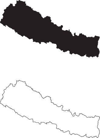 Nepal Map. Black silhouette country map isolated on white background. Black outline on white background. Vector file  イラスト・ベクター素材