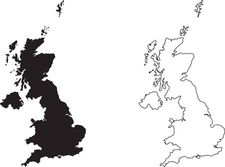 United Kingdom Great Britain Map. Black silhouette country map isolated on white background. Black outline on white background. Vector file