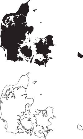 Denmark Map. Black silhouette country map isolated on white background. Black outline on white background. Vector file
