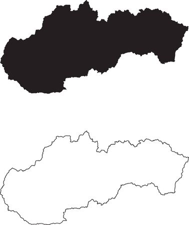 Slovakia Map. Black silhouette country map isolated on white background. Black outline on white background. Vector based